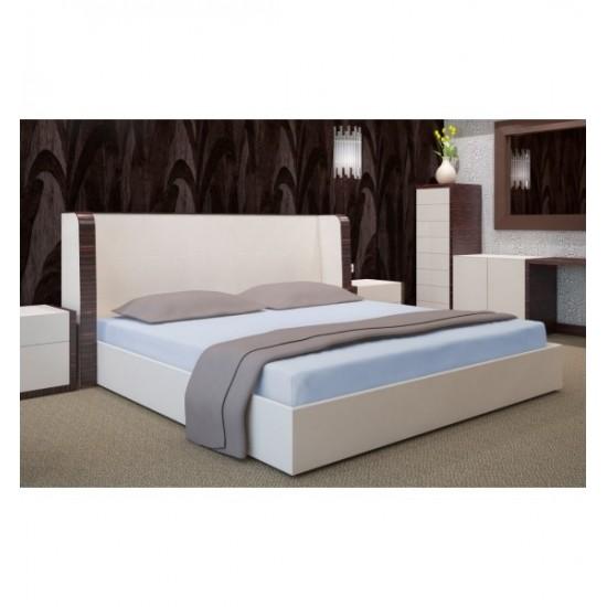 Svetlo modrá napínacia posteľná plachta zo saténovej bavlny