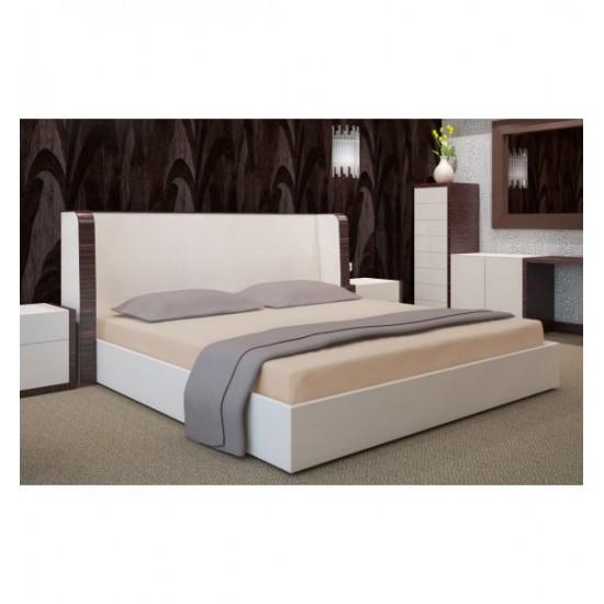 Kvalitná posteľná plachta v kapučínovej farbe