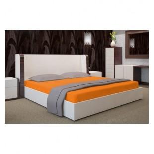 Oranžová napínacia posteľná plachta o saténovej bavlny