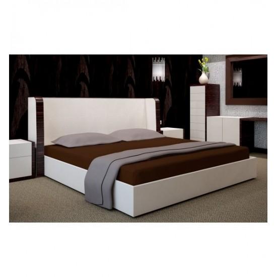Hnedé posteľné prestieradlo s napínacou gumičkou zo saténovej bavlny