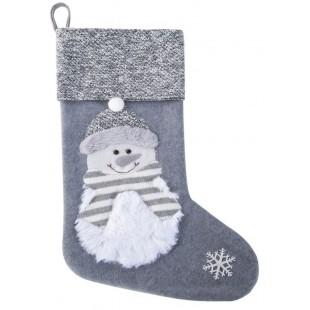 Sivá vianočná dekoračná čižma so snehuliakom