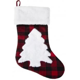 Červeno-čierna károvaná vianočná čižmička s vianočným stromčekom