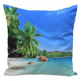 Modrá obliečka na vankúš vzor exotická pláž