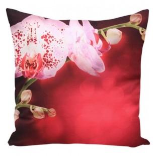 Červená 3D obliečka na vankúš vzor orchidea