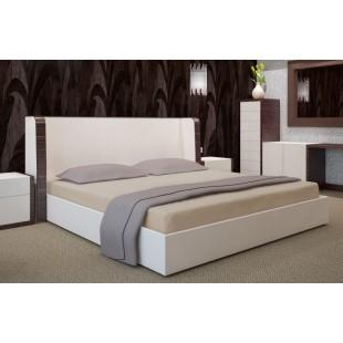 Béžová posteľná plachta zo saténovej bavlny bez napínacej gumičky