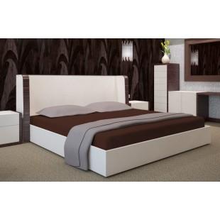 Hnedá posteľná plachta zo saténovej bavlny bez napínacej gumičky