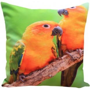 Zelená obliečka na dekoračný vankúš so motívom papagája