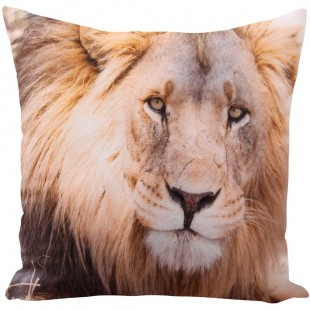 Béžová obliečka na dekoračný vankúš s motívom leva