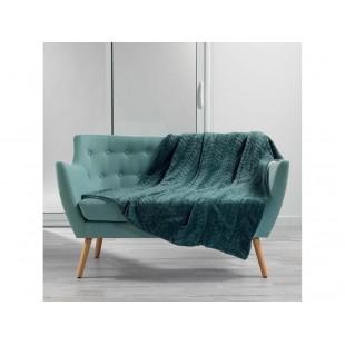 Tmavozelená mäkká deka so vzorom