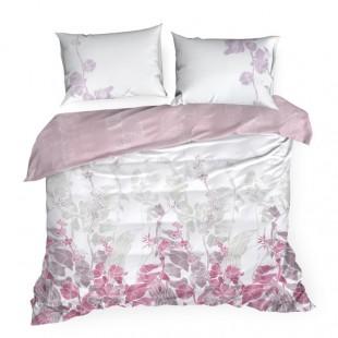 Ružová posteľná obliečka zo saténovej bavlny s rastlinným vzorom