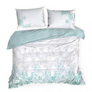 Modrá posteľná obliečka zo saténovej bavlny s rastlinným vzorom