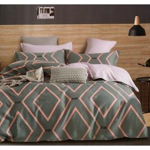 Zelená posteľná obliečka zo saténovej bavlny so vzorom