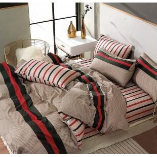 Béžová posteľná obliečka zo saténovej bavlny so vzorom