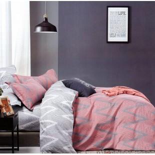 Ružová posteľná obliečka zo saténovej bavlny s cik-cak vzorom