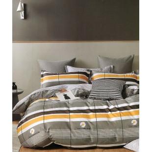 Sivá posteľná obliečka zo saténovej bavlny s margarétkami