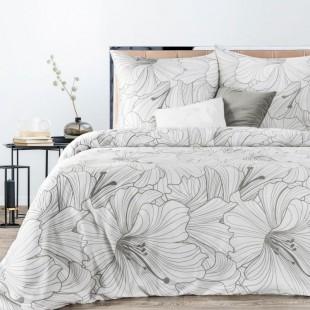 Biela posteľná obliečka zo saténovej bavlny s rastlinným motívom