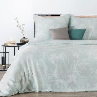 Béžová posteľná obliečka zo saténovej bavlny s rastlinným vzorom