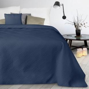 Tmavomodrý mäkký prešívaný prehoz na posteľ