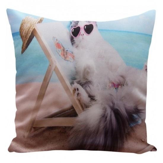 Obliečka na vankúš vzor mačka na pláži