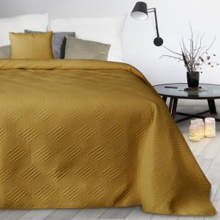 Žltý dekoračný mäkký prehoz na posteľ
