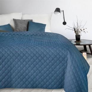 Modrý dekoračný mäkký prehoz na posteľ