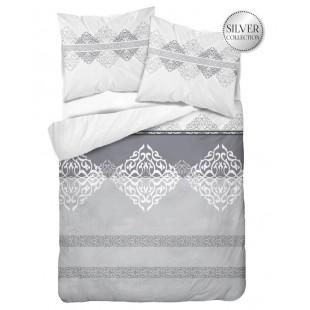 Bavlnené sivé posteľné obliečky so vzorom