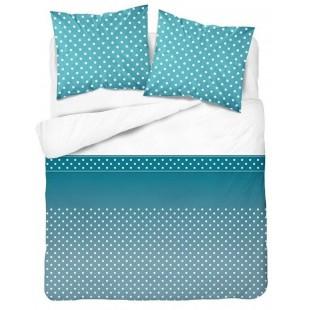 Bavlnená tyrkysová posteľná obliečka s bodkami