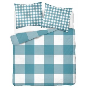 Bavlnená károvaná tyrkysová posteľná obliečka