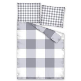 Bavlnená károvaná sivá posteľná obliečka