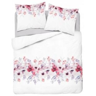Bavlnená biela posteľná obliečka s kvetinovým vzorom