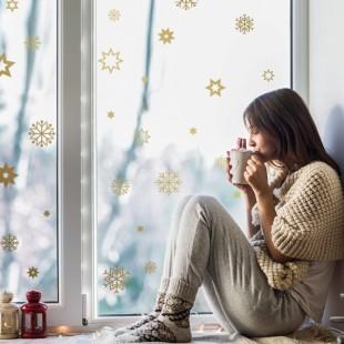Vianočné detské nálepky s motívom hviezdičiek a vločiek
