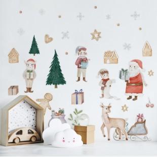 Vianočné detské nálepky vianočná krajina