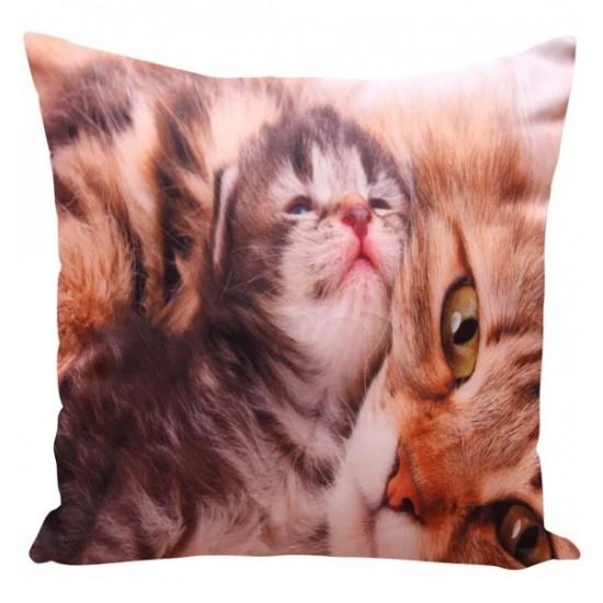 Béžová obliečka na vankúšik vzor mačičky