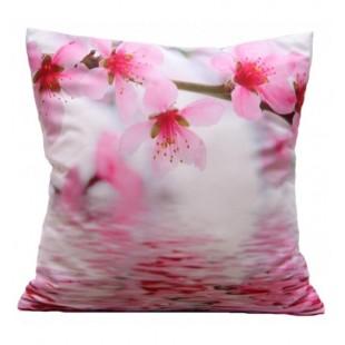 Bielo ružová obliečka na vankúšik vzor rozkvitnutý strom