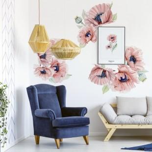 Nálepka na stenu s motívom kvetov maku