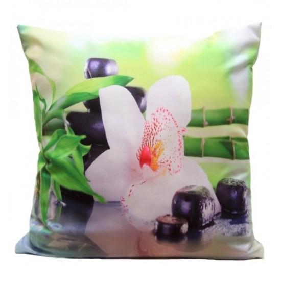 Bielo zelená obliečka na vankúšik vzor orchidea a bambus