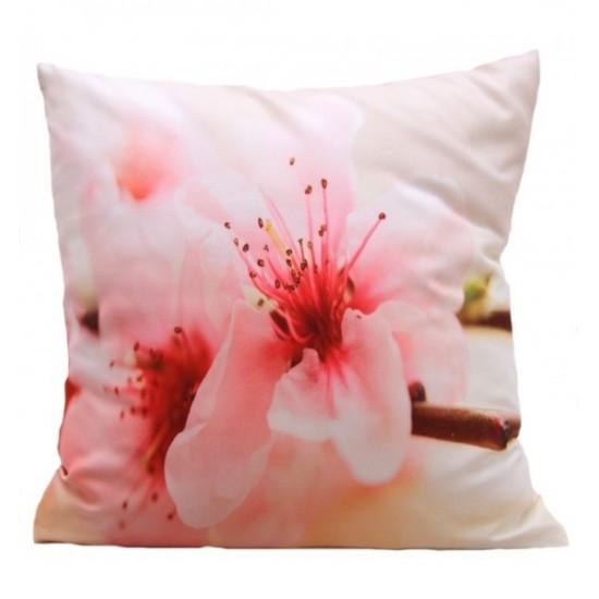 Ružovo krémová obliečka na vankúšik vzor čerešňové kvety