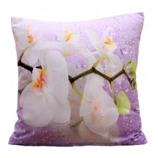 Fialová obliečka na vankúš vzor biela orchidea