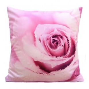 Ružová obliečka na vankúšik vzor ruža