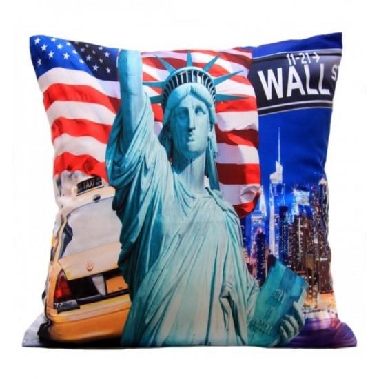 Obliečka na vankúš vzor New York a Socha slobody