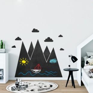 Nálepka na stenu z tabuľového materiálu s motívom hôr a mrakov