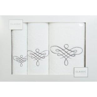 Sada 3 ručníkov v bielej farbe so vzorom