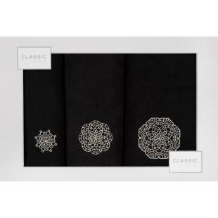 Sada 3 ručníkov čiernej farby so vzorom