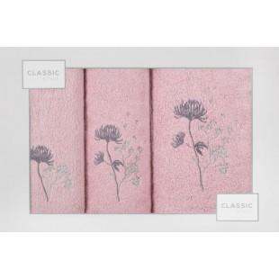 Sada 3 ručníkov v ružovej farbe s rastlinným motívom