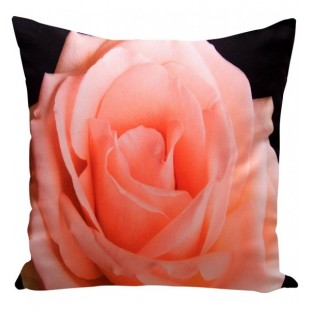 Čierna obliečka na vankúšik vzor svetloružová ruža