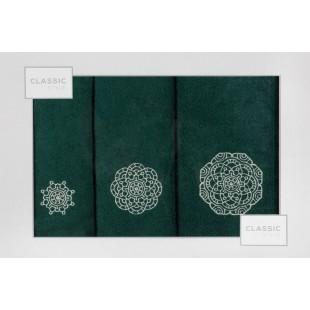 Sada 3 ručníkov zelenej farby so vzorom