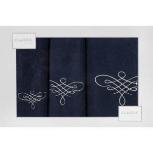 Sada 3 modrých ručníkov so vzorom