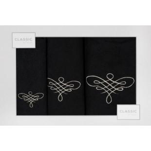 Sada 3 čiernych ručníkov so vzorom