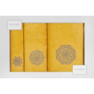 Sada 3 žltých ručníkov so vzorom