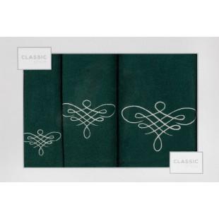 Sada 3 zelených ručníkov so vzorom